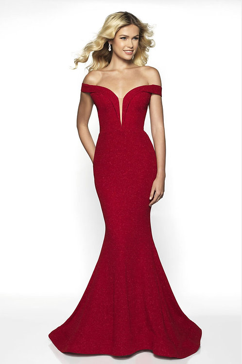 Red Off-the-Shoulder Gown
