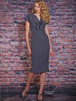 Grey Cap Sleeve Demure Dress