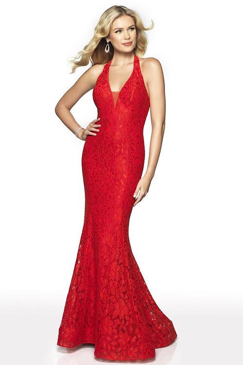 Red Plunge Halter Gown