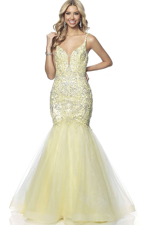 Pastel Lacy Tulle Mermaid Gown