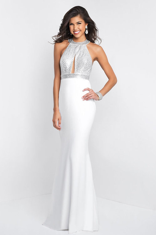 White Peekaboo Ruffle Gown
