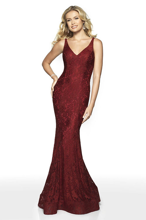 Burgundy Lacy Gown