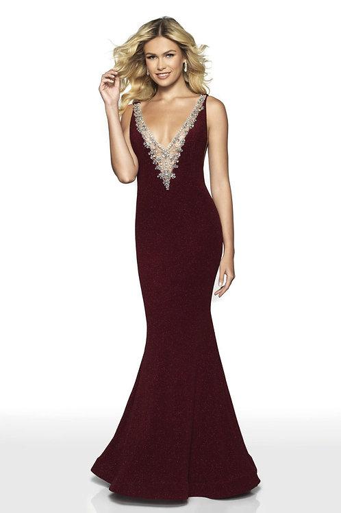 Burgundy Rhinestone Plunge Gown