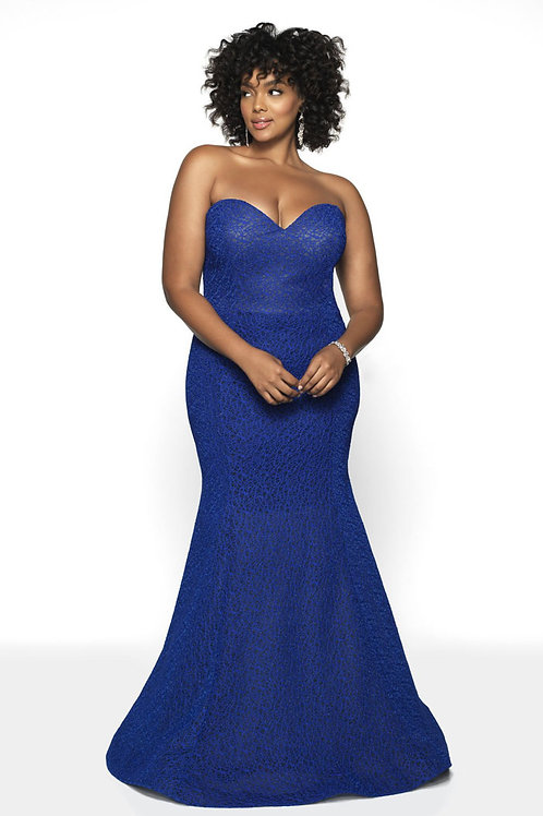 Blue Strapless Gown