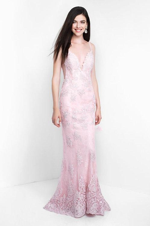 Pink Embellished Plunge Gown