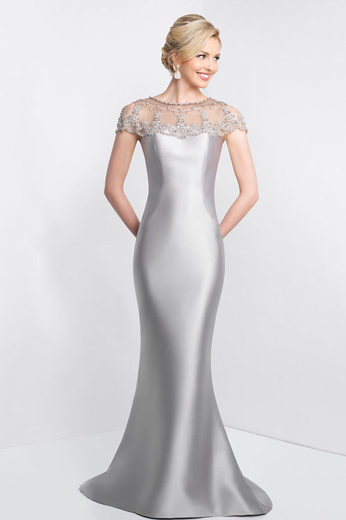 Silver Beaded Shoulders Gown