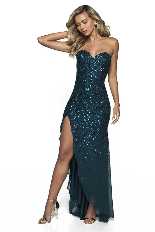 Teal Sweetheart Glitter Gown