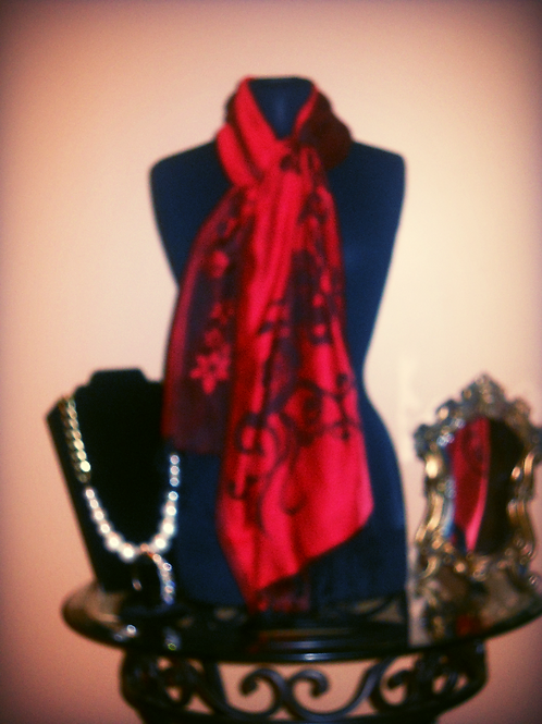 Red & Black Pashmina Scarf