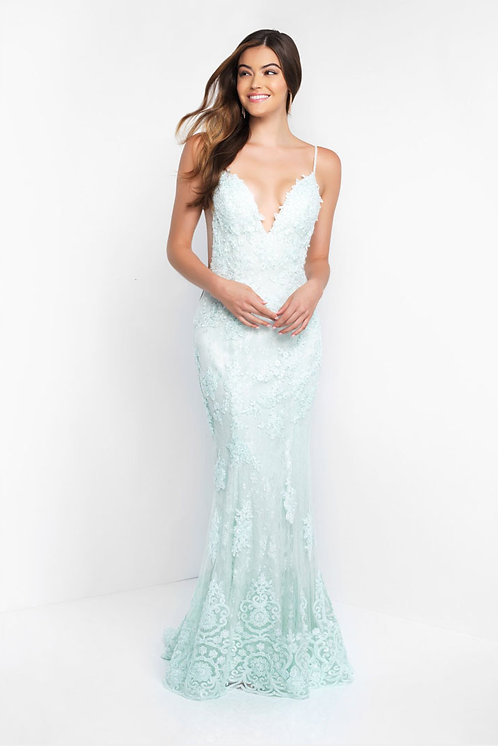 Green Embellished Plunge Gown