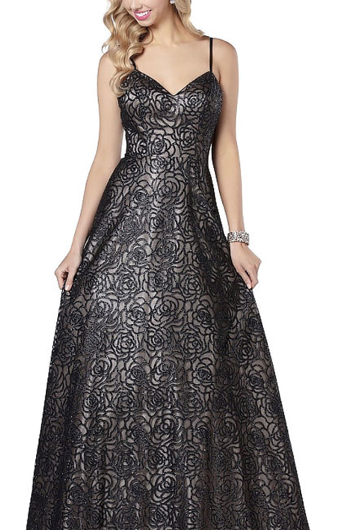 Black Lace Gown with Straps