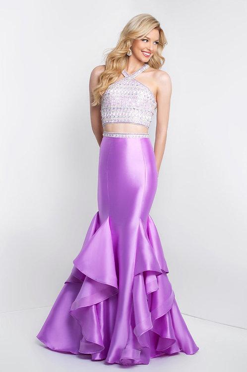 Purple Two-Piece Ruffle Mermaid Gown