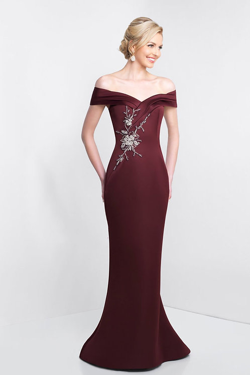 Burgundy Embellished Gown