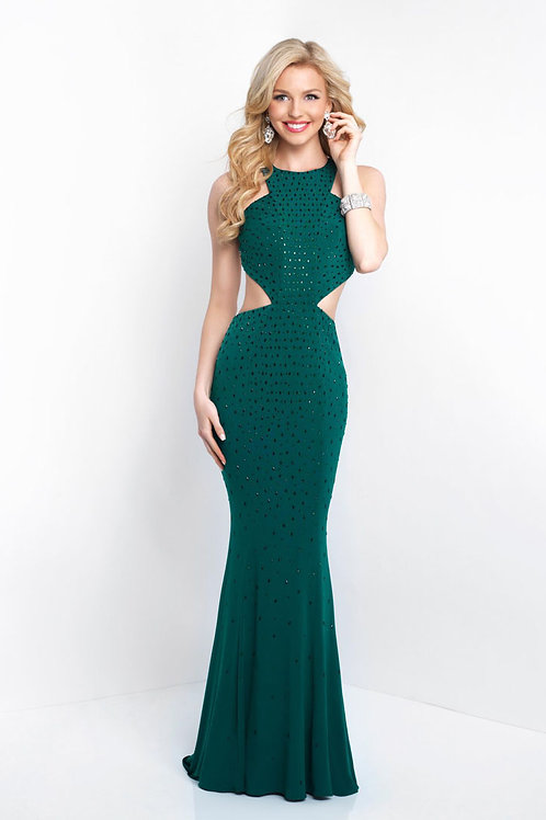 Emerald Beaded Cutout Gown