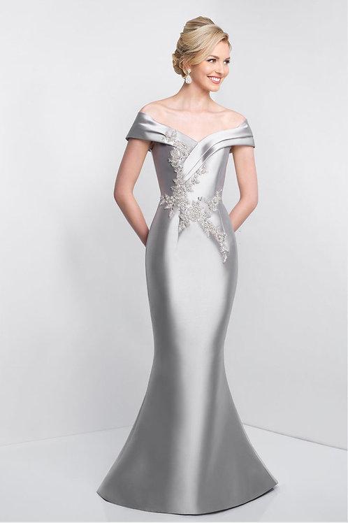 Silver Flower Burst Gown