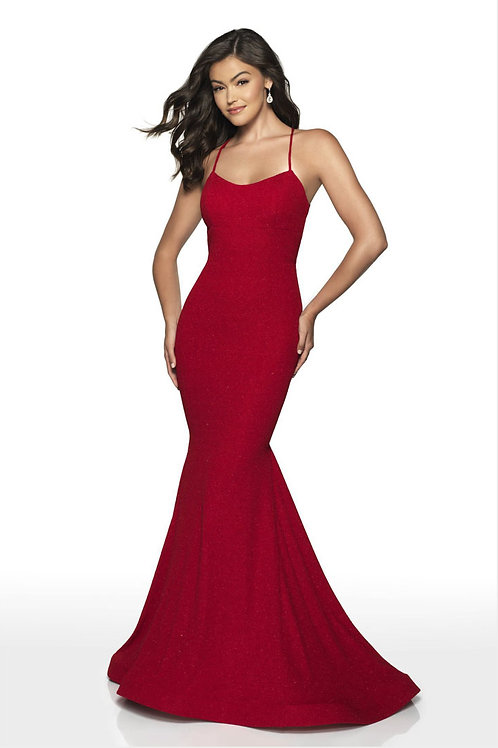 Red Tie Up Gown