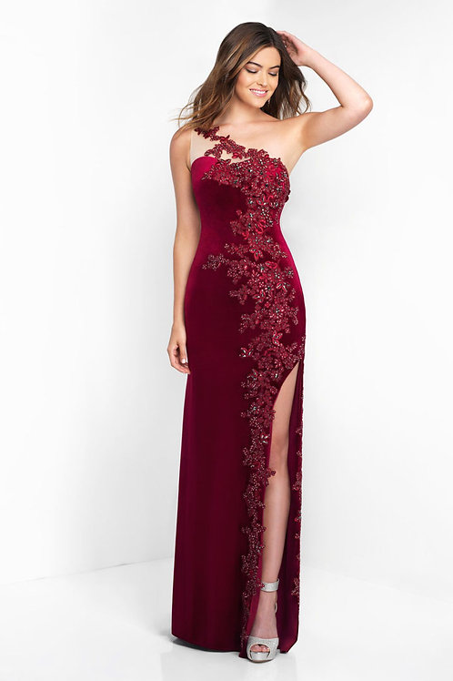 Red One-Shoulder Flowers Gown