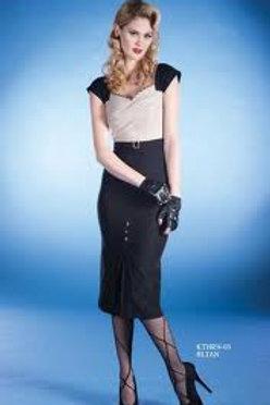 Cream & Black Happy Dress
