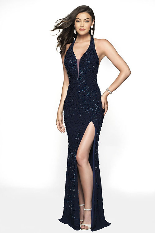 Navy Halter Slit Gown