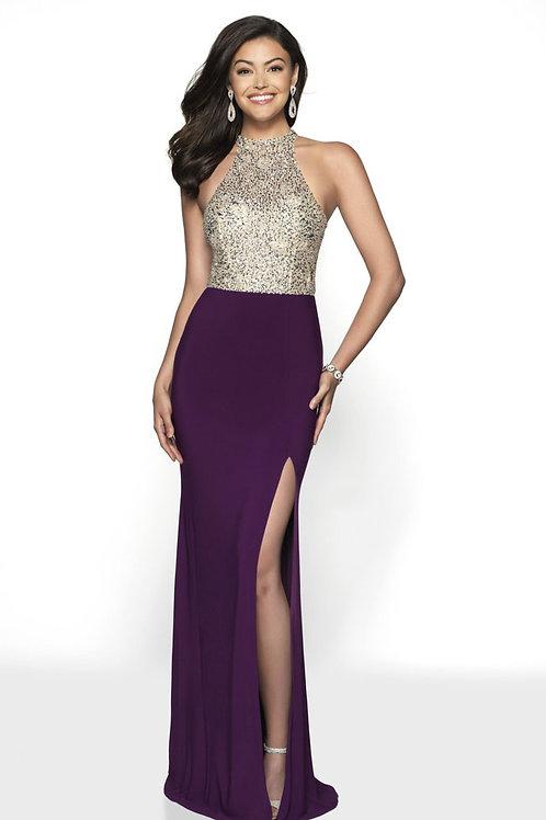 Purple Beaded Bodice Gown