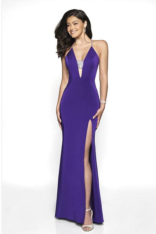 Purple Deep Plunge Gown