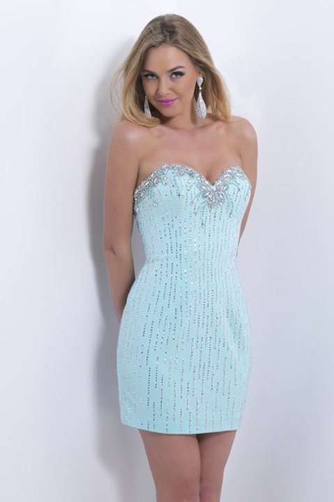 Sky Blue Fitted Short Dress