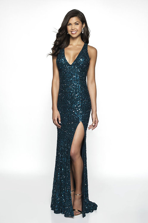 Teal Glitter Love Gown