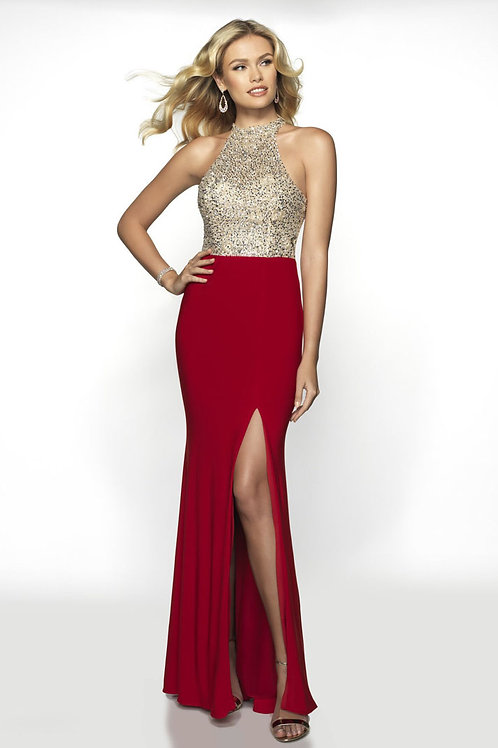 Red Beaded Bodice Gown
