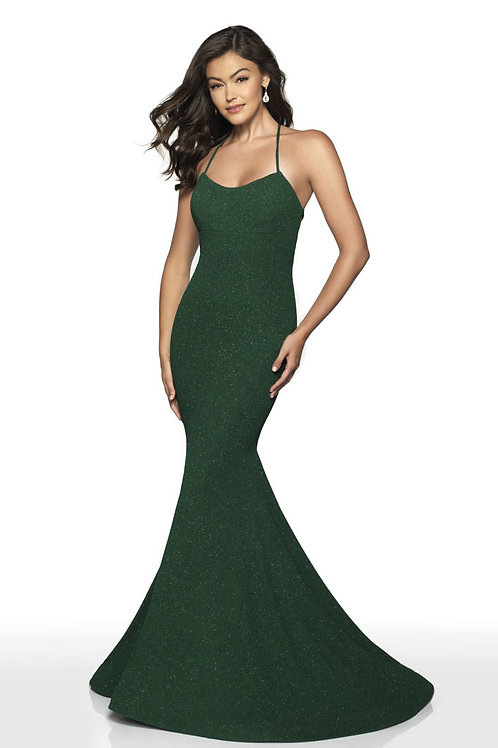 Green Tie Up Gown