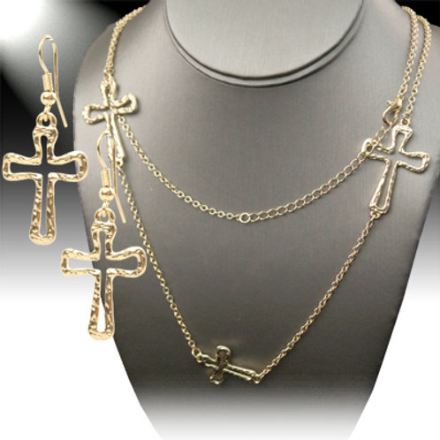 Golden Crosses Necklace Set