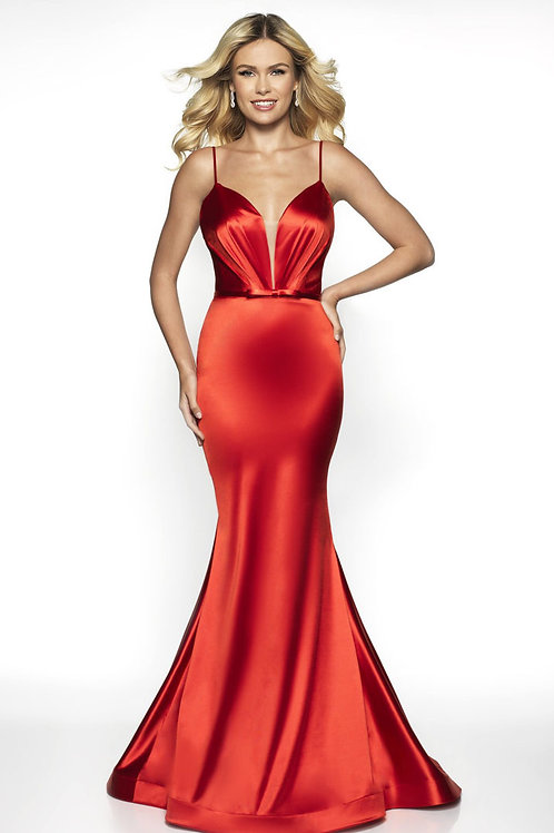Red Satin Queen Gown