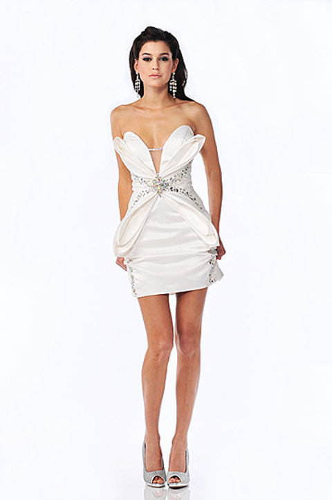 White Butterfly Bustier Cocktail Dress