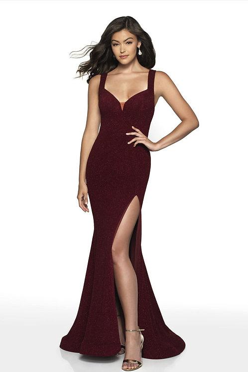 Burgundy Slit Gown