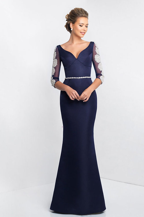 Navy Floral Arms Gown