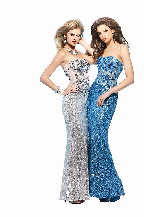 Silver & Blue Sequince Dress