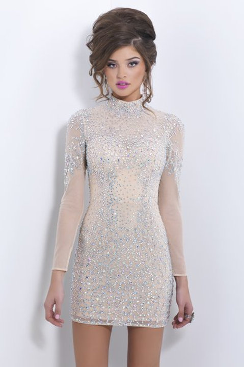 Fitted Short Cocktail Dress With Sleeves
