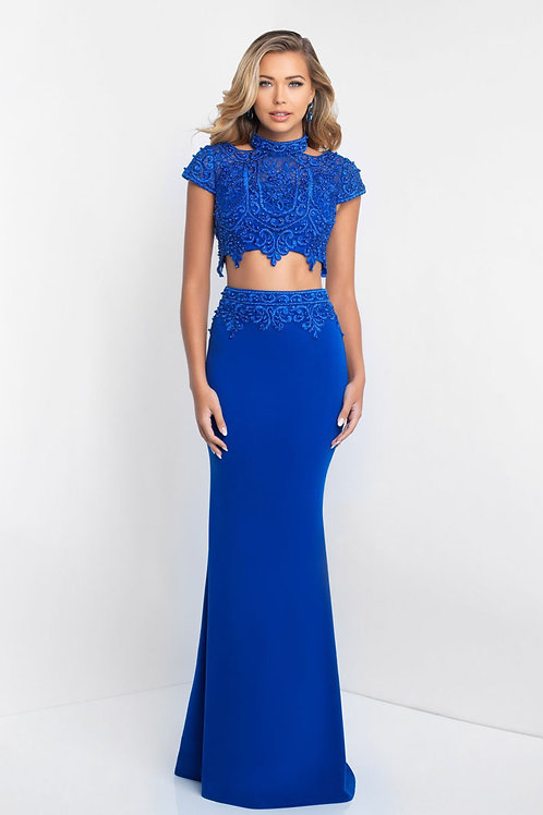 Blue Lace Two-Piece Gown
