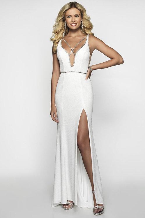 White Strappy Plunge Gown