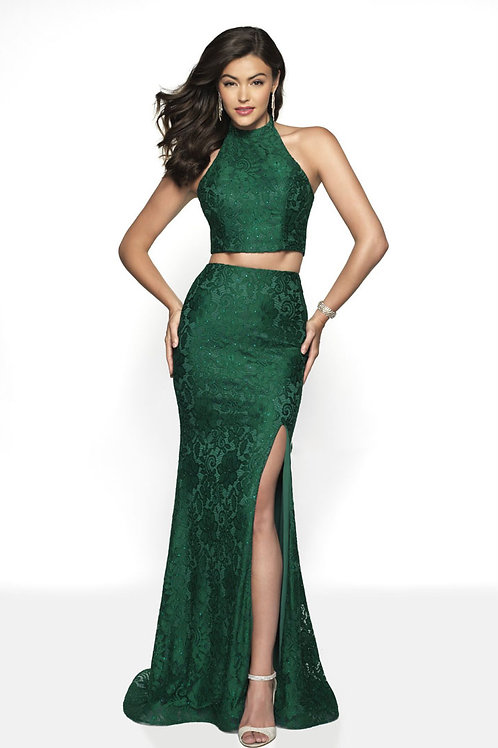 Green Lacy Two-Piece Gown
