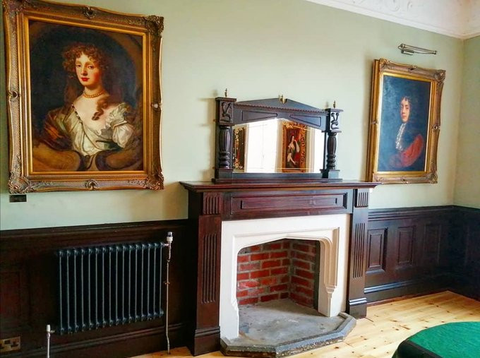 The renovated fireplace in The Morgan Room.