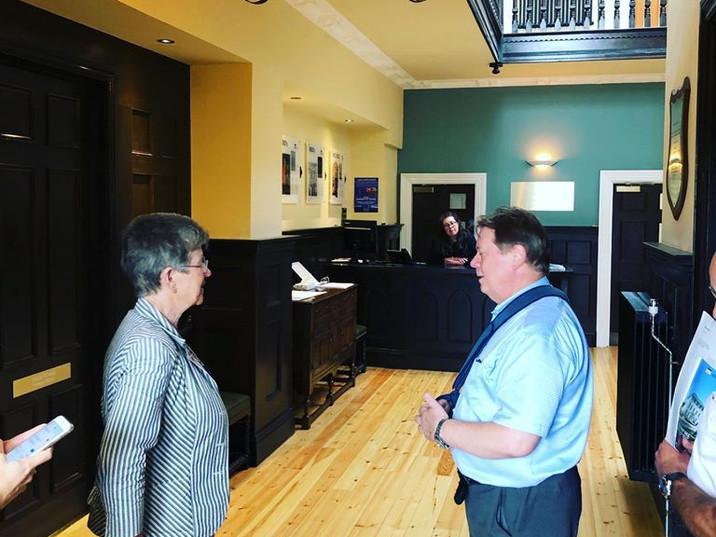 Steve Borley at the Hall in its early daysd after opening.