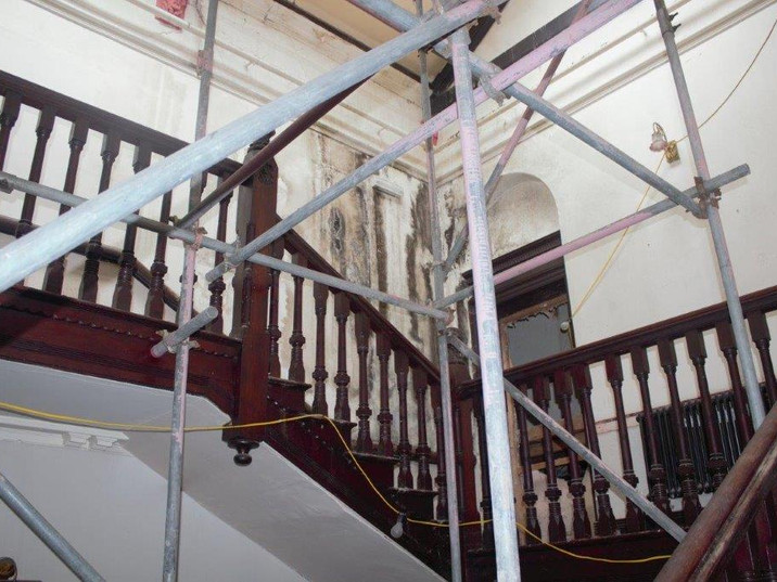Work in progress on the main staircase.