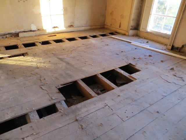 Upstairs flooring condition as was.
