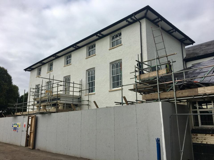 Early stages of work on the front of the Hall.