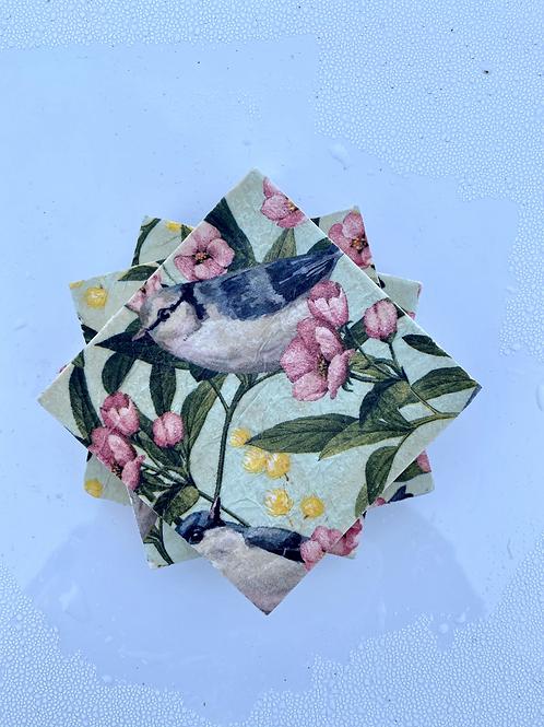 Spring Bird Coaster & Trivet Set