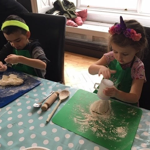 Kids cooking and making a mess!