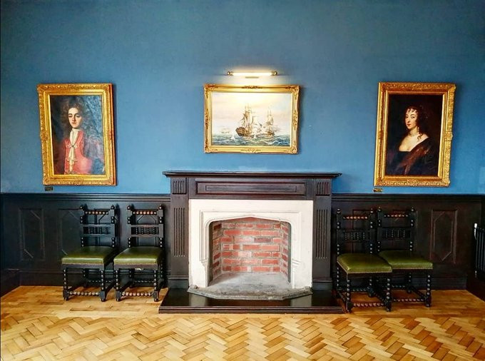 The renovated fireplace in The Kemey's Room.
