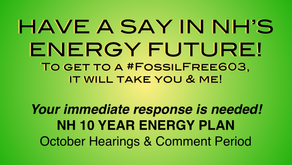 Urgent: Limited time to comment on NH's 10 year energy strategy, attend a hearing or email now.
