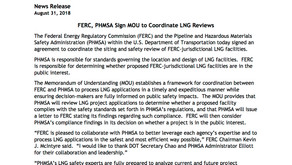 FERC & PHMSA to collaborate on LNG applications