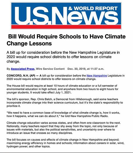 Climate Education Bill - US News - Balch