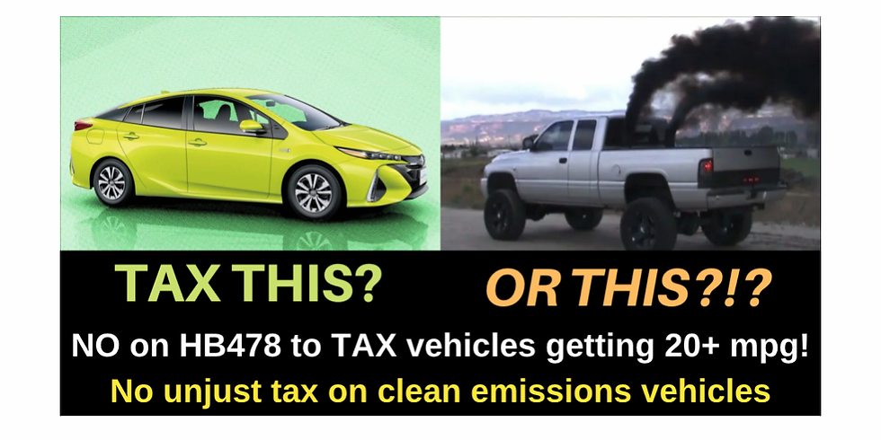 HB478 - Road Tax on Vehicles w/20+ mpg, including hybrids & EVs